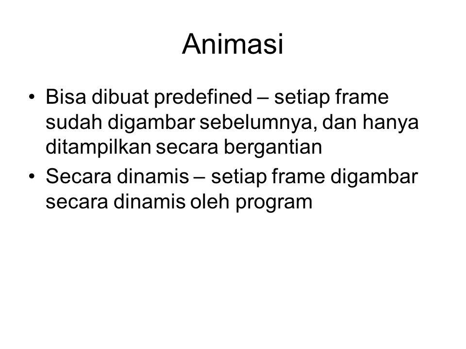 Algoritma Dasar Animasi While (not done) { hapus_layar(); gambar_frame_ke(i); delay(n); i = i + 1; }