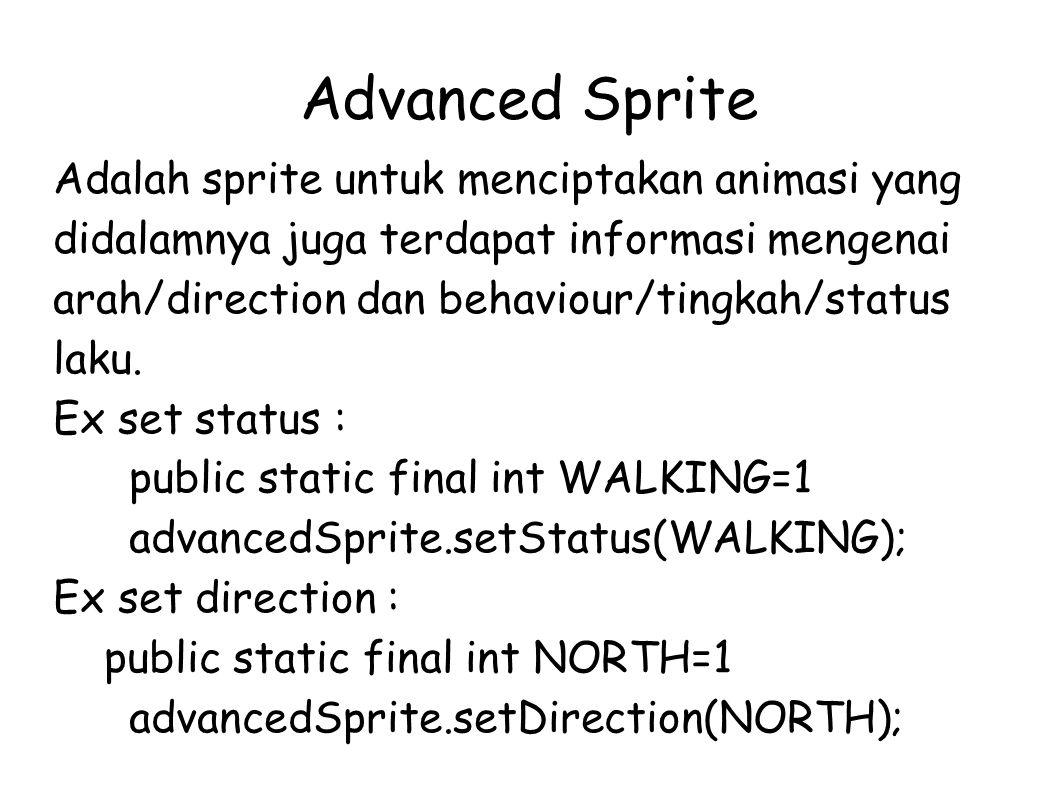Advanced Sprite Adalah sprite untuk menciptakan animasi yang didalamnya juga terdapat informasi mengenai arah/direction dan behaviour/tingkah/status laku.