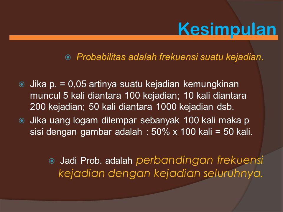 Kesimpulan  Probabilitas adalah frekuensi suatu kejadian.  Jika p. = 0,05 artinya suatu kejadian kemungkinan muncul 5 kali diantara 100 kejadian; 10