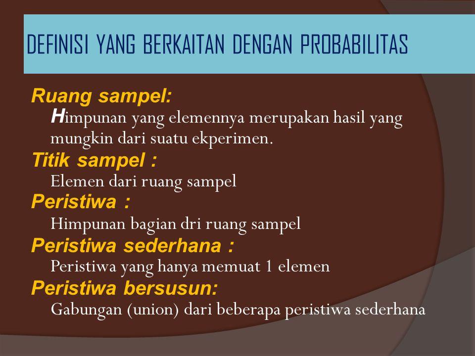 DEFINISI YANG BERKAITAN DENGAN PROBABILITAS Ruang sampel: H impunan yang elemennya merupakan hasil yang mungkin dari suatu ekperimen. Titik sampel : E