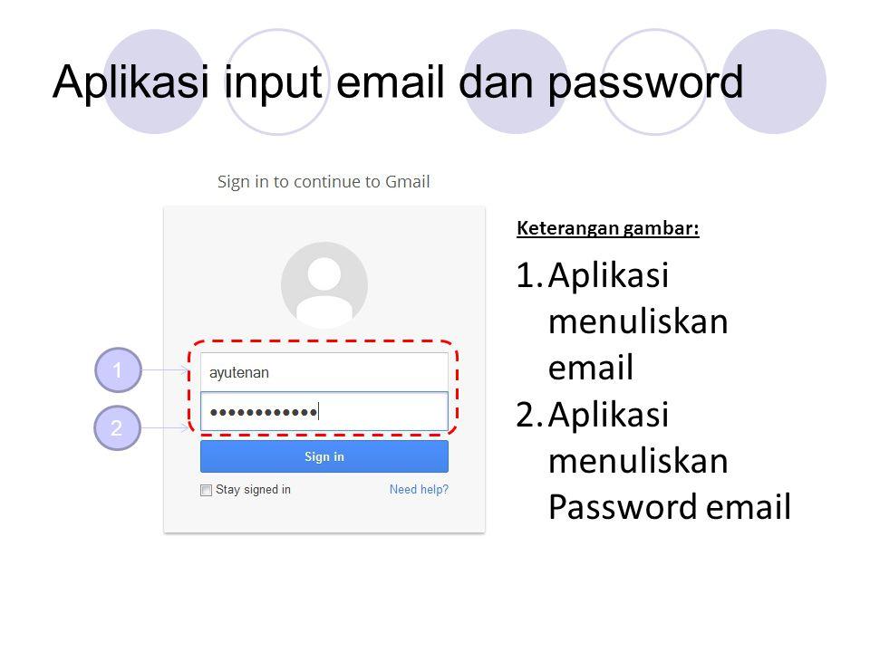 Aplikasi input email dan password 1 2 1.Aplikasi menuliskan email 2.Aplikasi menuliskan Password email Keterangan gambar:
