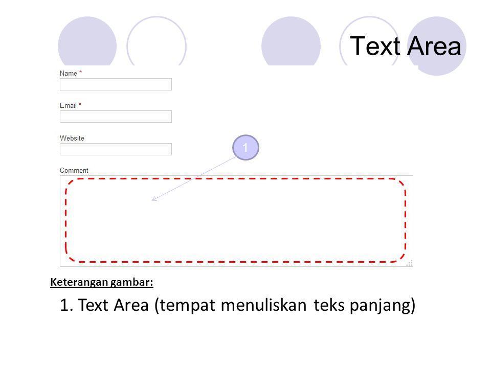 Text Area 1 1.Text Area (tempat menuliskan teks panjang) Keterangan gambar: