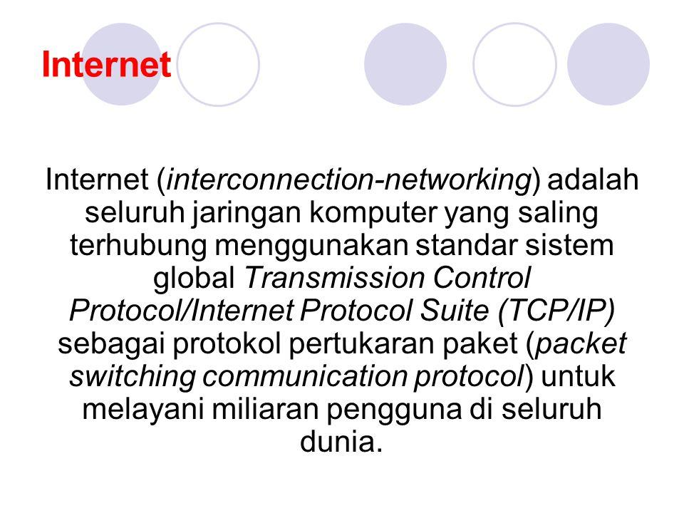 Internet Internet (interconnection-networking) adalah seluruh jaringan komputer yang saling terhubung menggunakan standar sistem global Transmission Control Protocol/Internet Protocol Suite (TCP/IP) sebagai protokol pertukaran paket (packet switching communication protocol) untuk melayani miliaran pengguna di seluruh dunia.