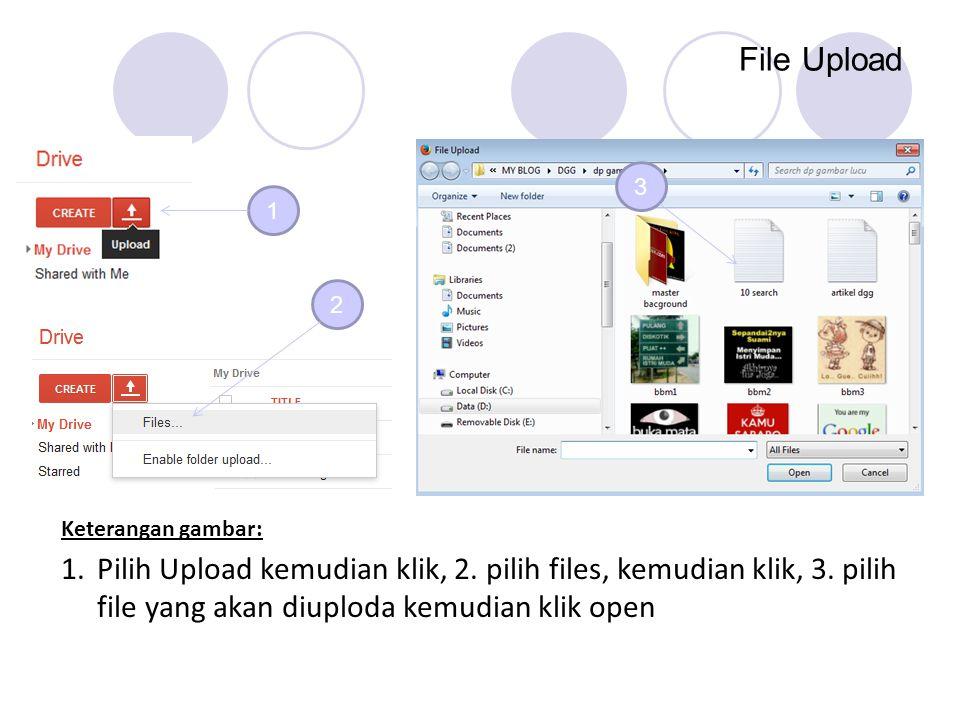 File Upload 1 2 3 1.Pilih Upload kemudian klik, 2. pilih files, kemudian klik, 3. pilih file yang akan diuploda kemudian klik open Keterangan gambar: