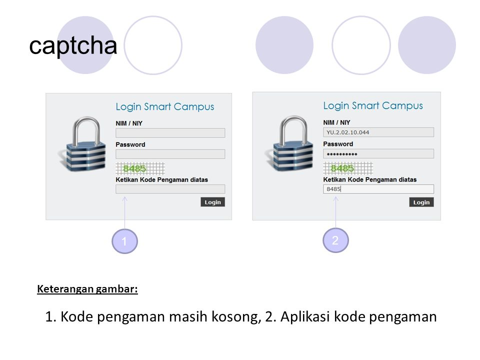 captcha 1 2 Keterangan gambar: 1. Kode pengaman masih kosong, 2. Aplikasi kode pengaman
