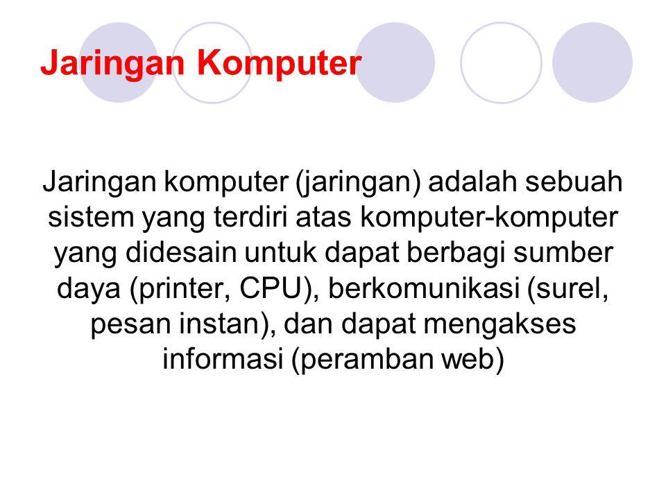 Jaringan Komputer Jaringan komputer (jaringan) adalah sebuah sistem yang terdiri atas komputer-komputer yang didesain untuk dapat berbagi sumber daya (printer, CPU), berkomunikasi (surel, pesan instan), dan dapat mengakses informasi (peramban web)