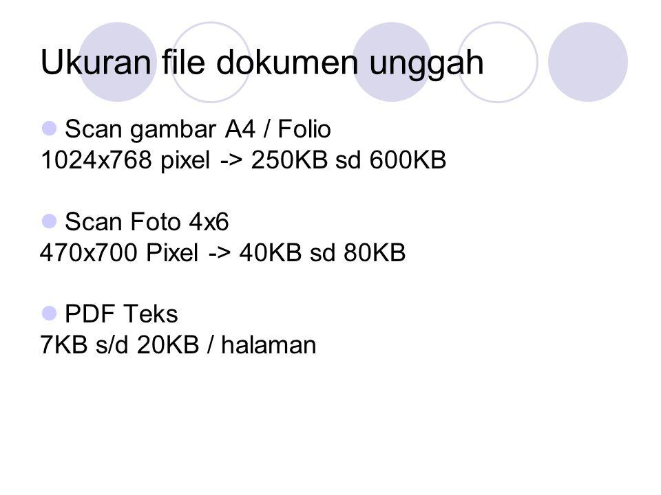 Ukuran file dokumen unggah Scan gambar A4 / Folio 1024x768 pixel -> 250KB sd 600KB Scan Foto 4x6 470x700 Pixel -> 40KB sd 80KB PDF Teks 7KB s/d 20KB / halaman