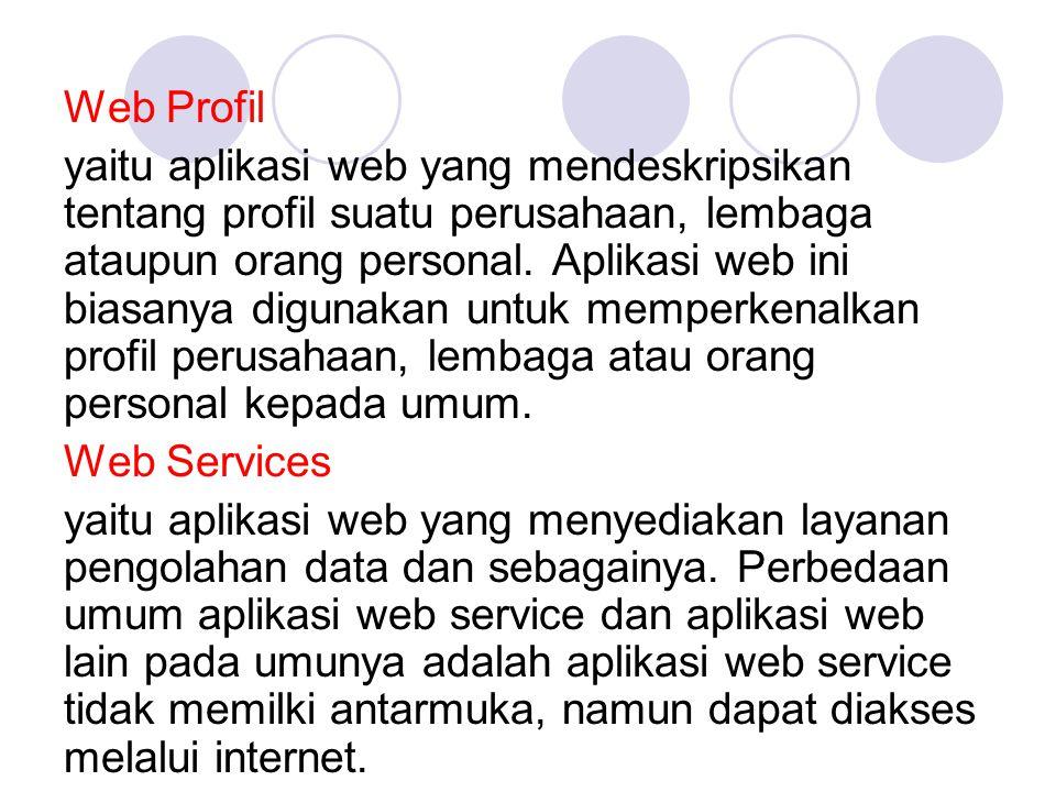 Web Profil yaitu aplikasi web yang mendeskripsikan tentang profil suatu perusahaan, lembaga ataupun orang personal. Aplikasi web ini biasanya digunaka