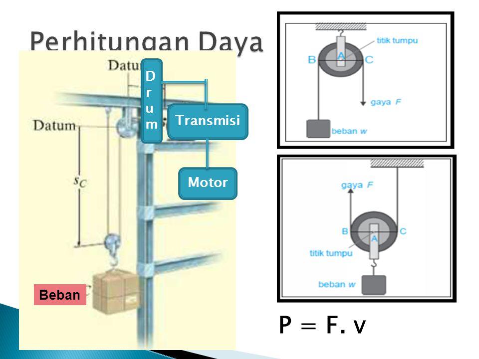P = F. v Transmisi Beban DrumDrum Motor