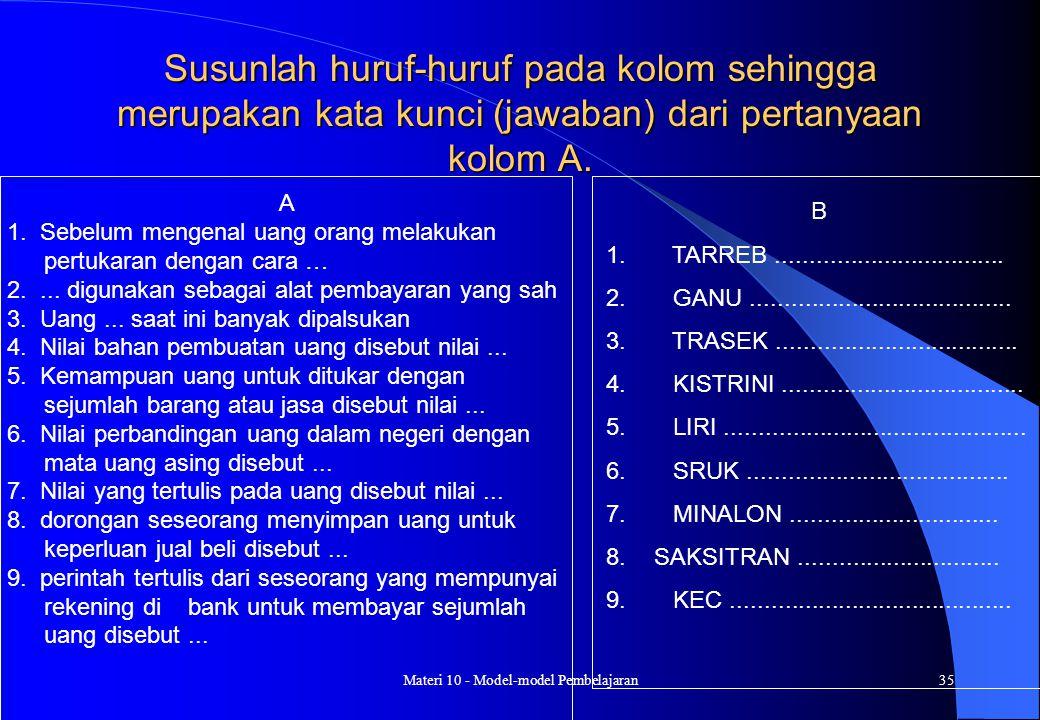 Materi 10 - Model-model Pembelajaran34 MEDIA : Buatlah pertanyaan yang sesuai dengan TPK Buat jawaban yang diacak hurufnya Langkah-langkah : 1. Guru m