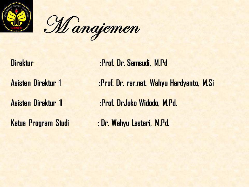 M anajemen Direktur :Prof. Dr. Samsudi, M.Pd Asisten Direktur 1 :Prof. Dr. rer.nat. Wahyu Hardyanto, M.Si Asisten Direktur 11 :Prof. DrJoko Widodo, M.