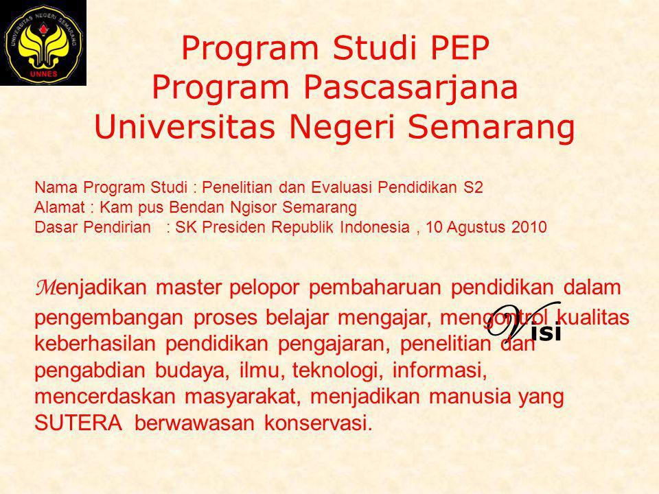 Program Studi PEP Program Pascasarjana Universitas Negeri Semarang Nama Program Studi : Penelitian dan Evaluasi Pendidikan S2 Alamat : Kam pus Bendan