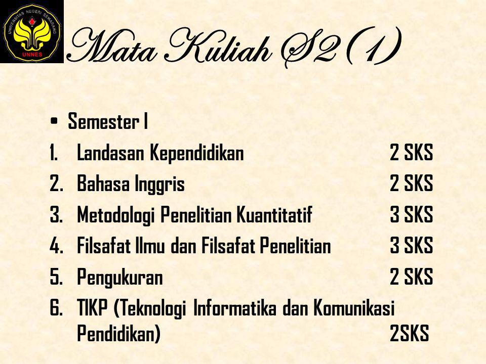 Mata Kuliah S2(1) Semester I 1.Landasan Kependidikan 2 SKS 2.Bahasa Inggris 2 SKS 3.Metodologi Penelitian Kuantitatif 3 SKS 4.Filsafat Ilmu dan Filsaf