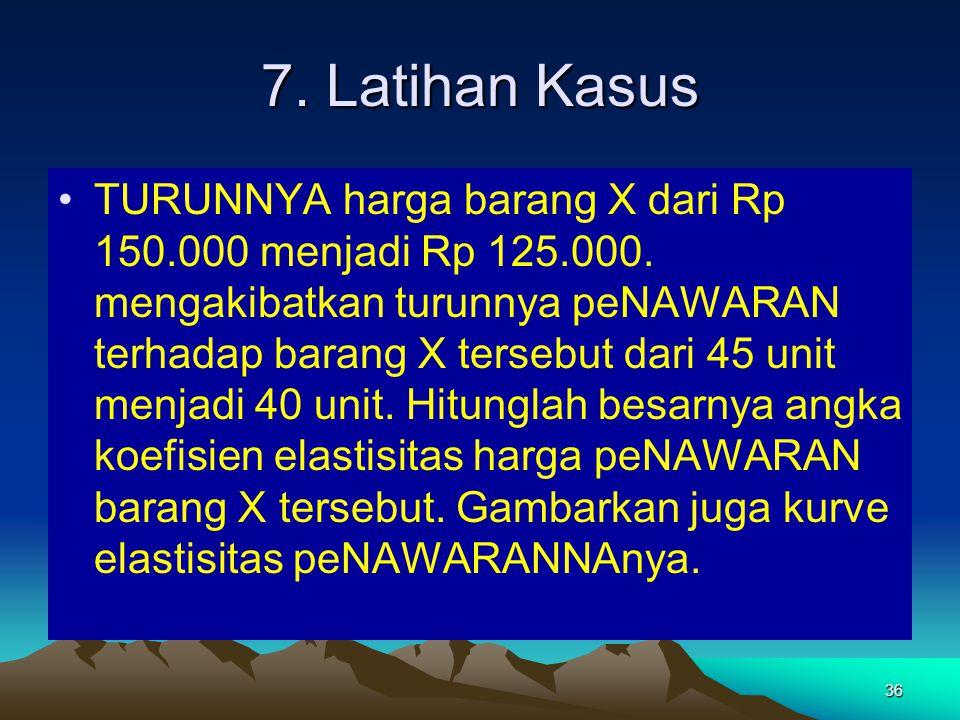 36 7.Latihan Kasus TURUNNYA harga barang X dari Rp 150.000 menjadi Rp 125.000.