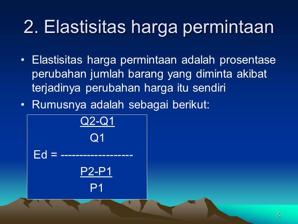5 2. Elastisitas harga permintaan Elastisitas harga permintaan adalah prosentase perubahan jumlah barang yang diminta akibat terjadinya perubahan harg