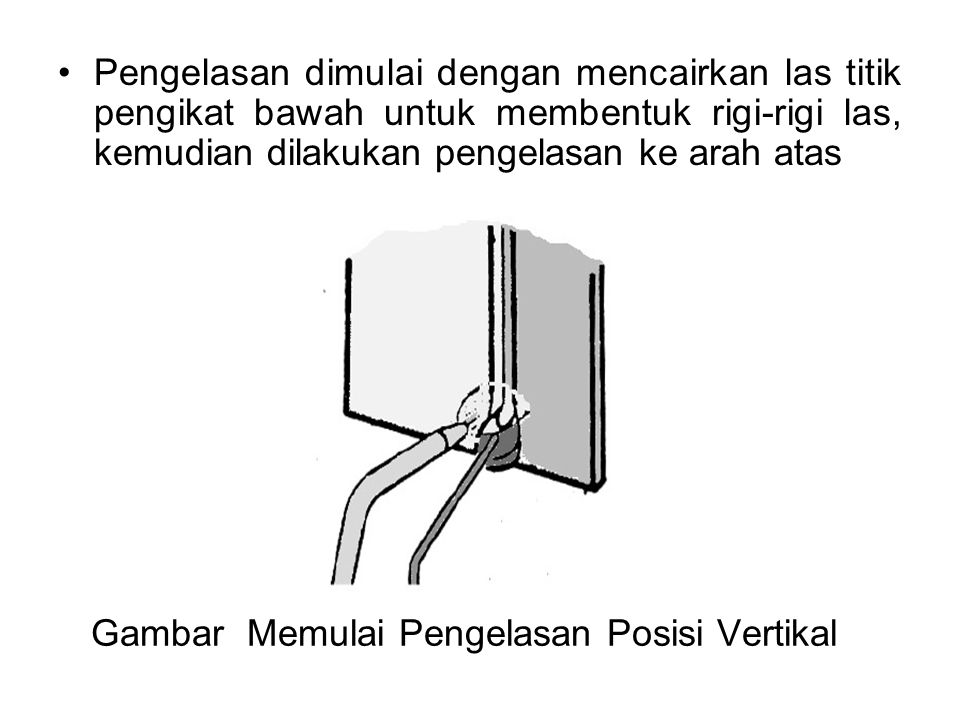Gambar Memulai Pengelasan Posisi Vertikal Pengelasan dimulai dengan mencairkan las titik pengikat bawah untuk membentuk rigi-rigi las, kemudian dilaku
