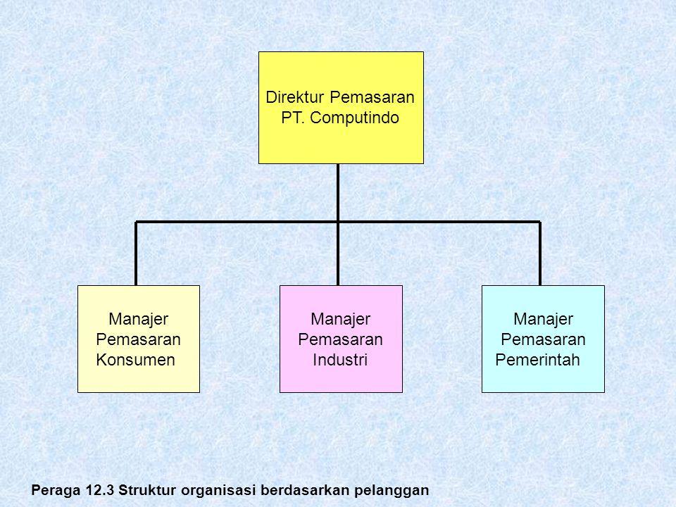 Peraga 12.3 Struktur organisasi berdasarkan pelanggan Direktur Pemasaran PT. Computindo Manajer Pemasaran Konsumen Manajer Pemasaran Industri Manajer