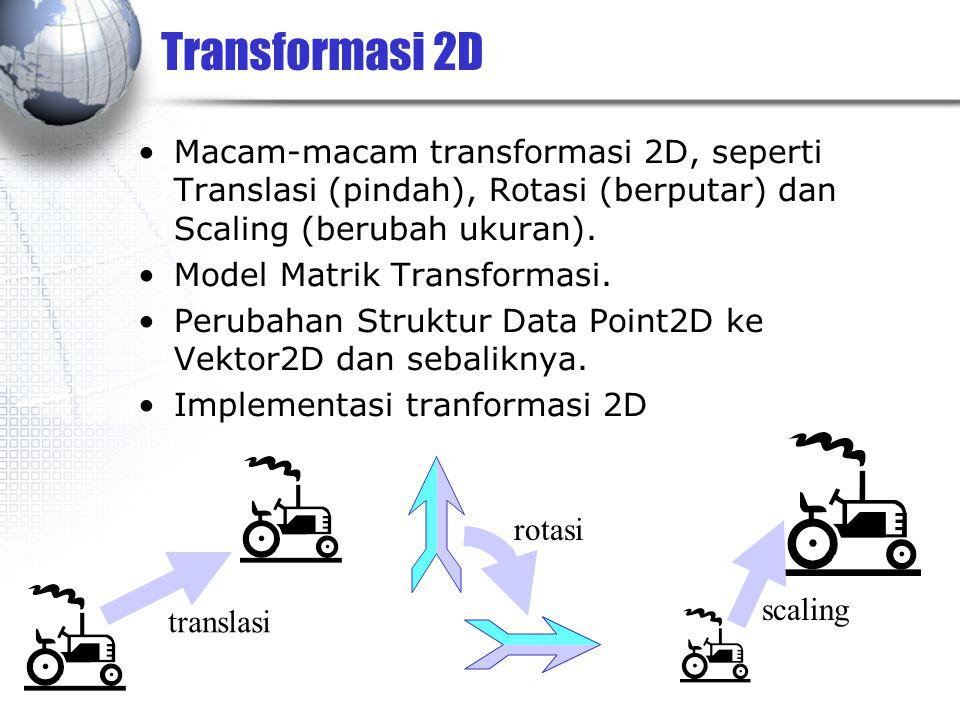 Transformasi 2D Macam-macam transformasi 2D, seperti Translasi (pindah), Rotasi (berputar) dan Scaling (berubah ukuran). Model Matrik Transformasi. Pe