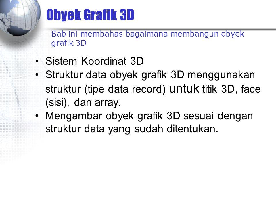 Obyek Grafik 3D Sistem Koordinat 3D Struktur data obyek grafik 3D menggunakan struktur (tipe data record) untuk titik 3D, face (sisi), dan array. Meng