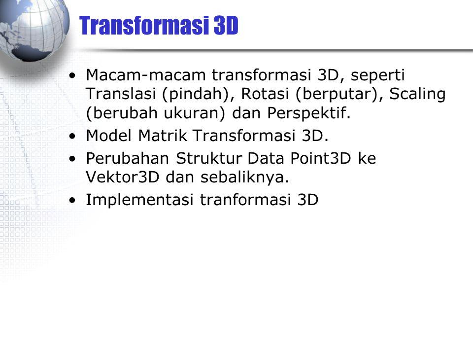 Transformasi 3D Macam-macam transformasi 3D, seperti Translasi (pindah), Rotasi (berputar), Scaling (berubah ukuran) dan Perspektif. Model Matrik Tran