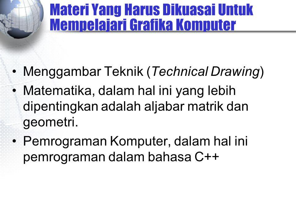 Materi Yang Harus Dikuasai Untuk Mempelajari Grafika Komputer Menggambar Teknik (Technical Drawing) Matematika, dalam hal ini yang lebih dipentingkan