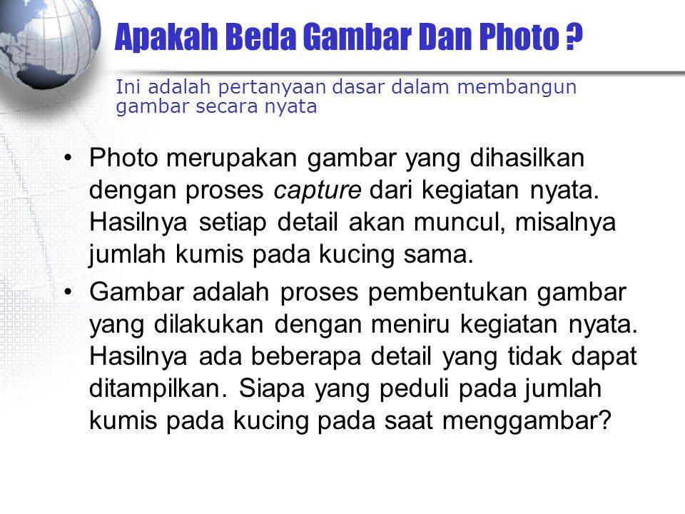 Apakah Beda Gambar Dan Photo ? Photo merupakan gambar yang dihasilkan dengan proses capture dari kegiatan nyata. Hasilnya setiap detail akan muncul, m