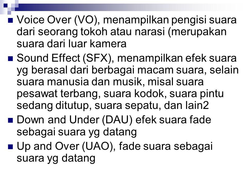 Voice Over (VO), menampilkan pengisi suara dari seorang tokoh atau narasi (merupakan suara dari luar kamera Sound Effect (SFX), menampilkan efek suara