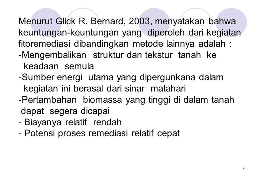 5 Menurut Glick R. Bernard, 2003, menyatakan bahwa keuntungan-keuntungan yang diperoleh dari kegiatan fitoremediasi dibandingkan metode lainnya adalah
