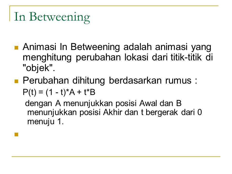 In Betweening Animasi In Betweening adalah animasi yang menghitung perubahan lokasi dari titik-titik di