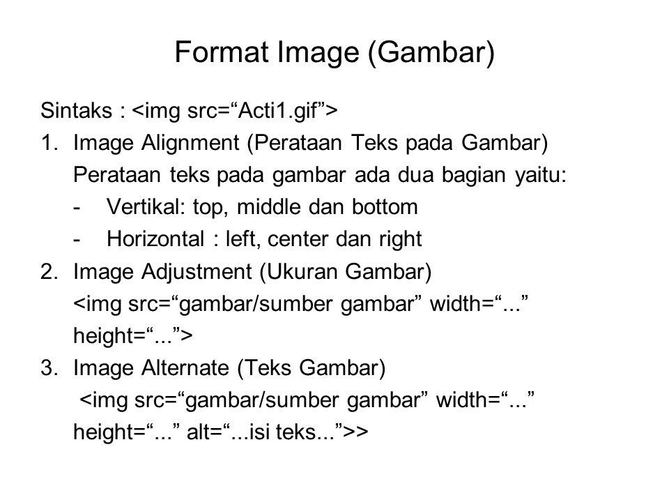 Format Image (Gambar) Sintaks : 1.Image Alignment (Perataan Teks pada Gambar) Perataan teks pada gambar ada dua bagian yaitu: -Vertikal: top, middle dan bottom -Horizontal : left, center dan right 2.Image Adjustment (Ukuran Gambar) <img src= gambar/sumber gambar width= ... height= ... > 3.Image Alternate (Teks Gambar) <img src= gambar/sumber gambar width= ... height= ... alt= ...isi teks... >>