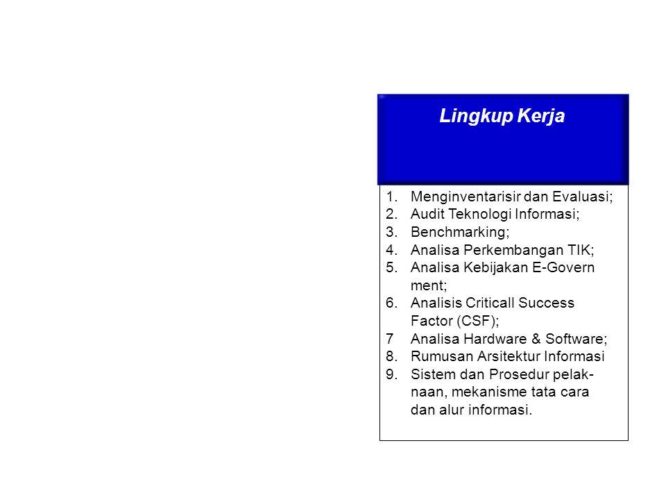 Lingkup Kerja 1.Menginventarisir dan Evaluasi; 2.Audit Teknologi Informasi; 3.Benchmarking; 4.Analisa Perkembangan TIK; 5.Analisa Kebijakan E-Govern m