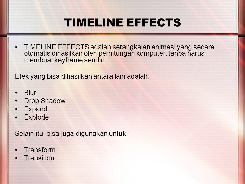 PERTEMUAN 2 TIMELINE EFFECTS TIMELINE EFFECTS adalah serangkaian animasi yang secara otomatis dihasilkan oleh perhitungan komputer, tanpa harus membua