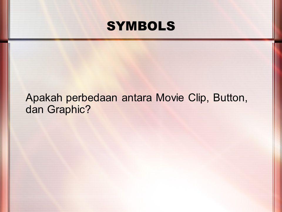 PERTEMUAN 2 SYMBOLS Apakah perbedaan antara Movie Clip, Button, dan Graphic?