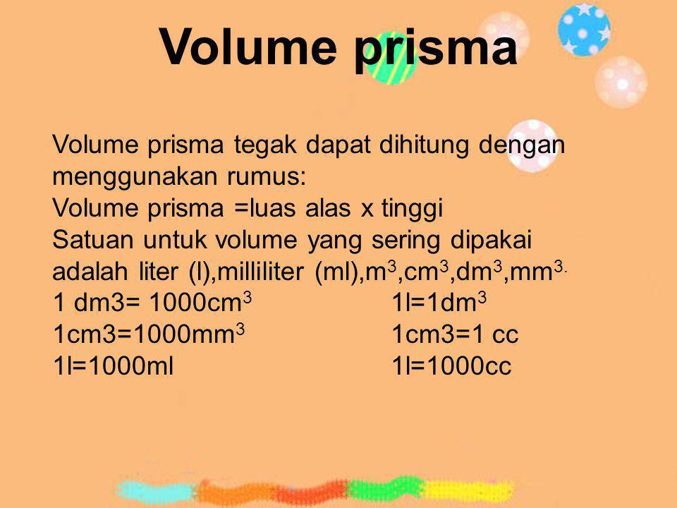 Volume prisma Volume prisma tegak dapat dihitung dengan menggunakan rumus: Volume prisma =luas alas x tinggi Satuan untuk volume yang sering dipakai a