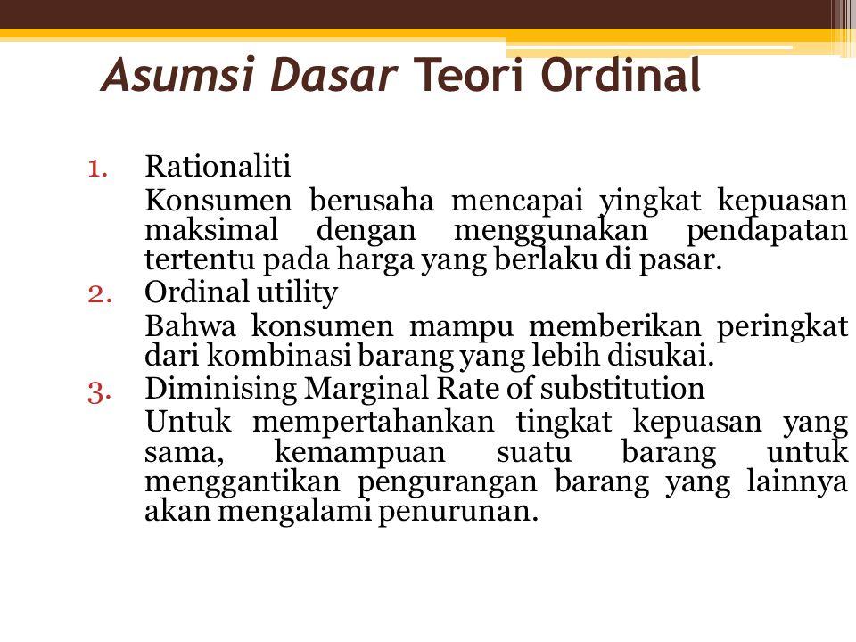 Asumsi Dasar Teori Ordinal 1.Rationaliti Konsumen berusaha mencapai yingkat kepuasan maksimal dengan menggunakan pendapatan tertentu pada harga yang b