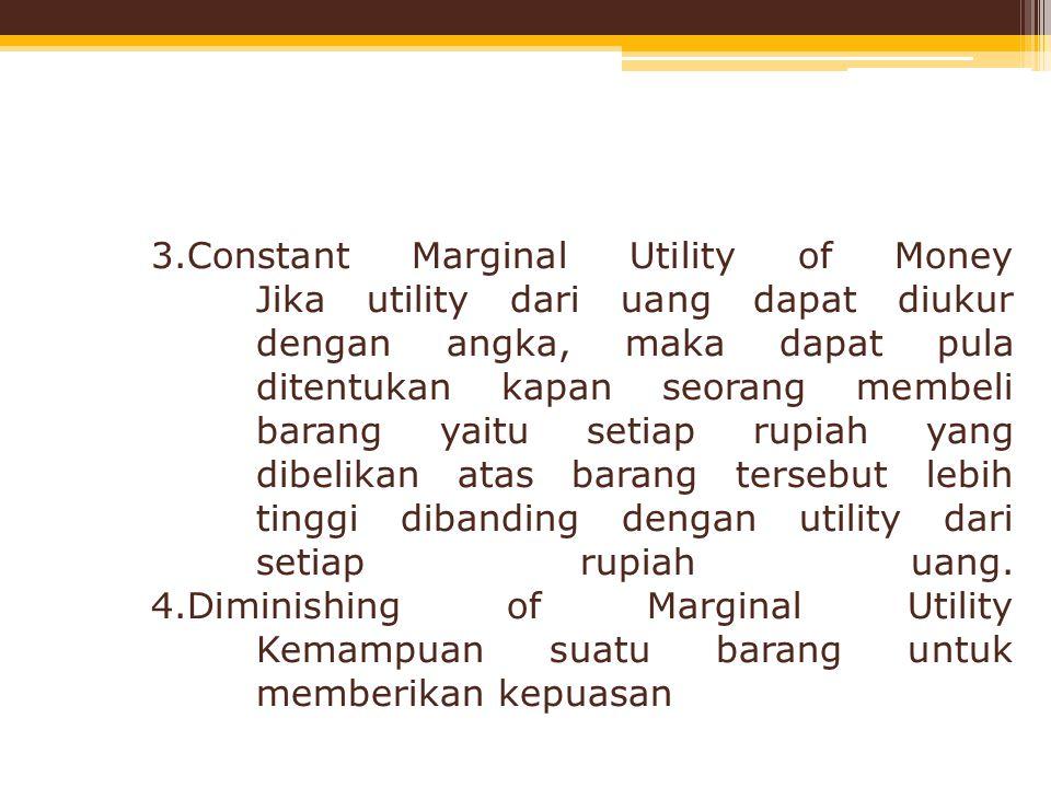 3.Constant Marginal Utility of Money Jika utility dari uang dapat diukur dengan angka, maka dapat pula ditentukan kapan seorang membeli barang yaitu s