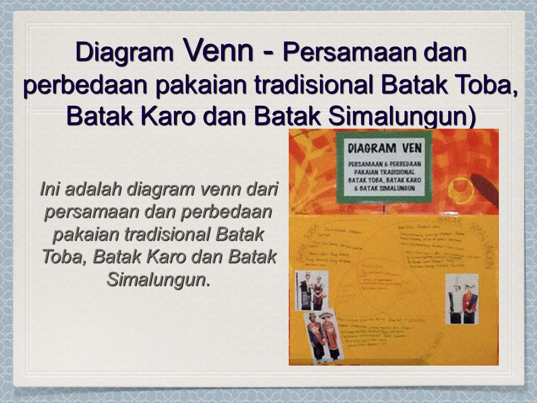 Diagram Venn - Persamaan dan perbedaan pakaian tradisional Batak Toba, Batak Karo dan Batak Simalungun) Ini adalah diagram venn dari persamaan dan per