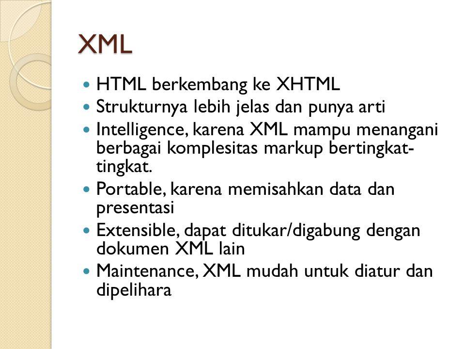 XML HTML berkembang ke XHTML Strukturnya lebih jelas dan punya arti Intelligence, karena XML mampu menangani berbagai komplesitas markup bertingkat- tingkat.