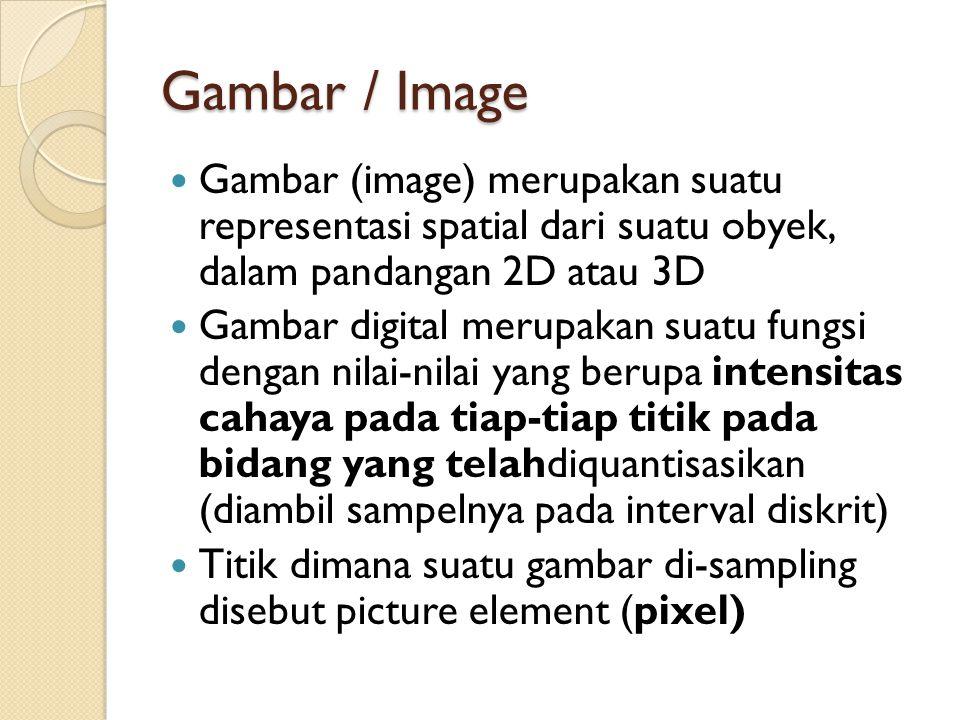 Gambar / Image Gambar (image) merupakan suatu representasi spatial dari suatu obyek, dalam pandangan 2D atau 3D Gambar digital merupakan suatu fungsi dengan nilai-nilai yang berupa intensitas cahaya pada tiap-tiap titik pada bidang yang telahdiquantisasikan (diambil sampelnya pada interval diskrit) Titik dimana suatu gambar di-sampling disebut picture element (pixel)