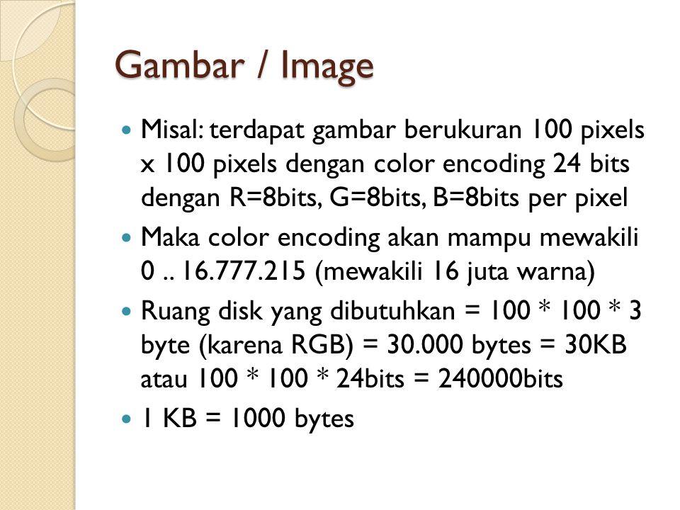 Gambar / Image Misal: terdapat gambar berukuran 100 pixels x 100 pixels dengan color encoding 24 bits dengan R=8bits, G=8bits, B=8bits per pixel Maka color encoding akan mampu mewakili 0..