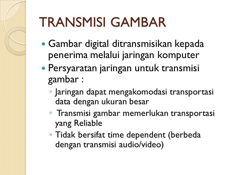 TRANSMISI GAMBAR Gambar digital ditransmisikan kepada penerima melalui jaringan komputer Persyaratan jaringan untuk transmisi gambar : ◦ Jaringan dapat mengakomodasi transportasi data dengan ukuran besar ◦ Transmisi gambar memerlukan transportasi yang Reliable ◦ Tidak bersifat time dependent (berbeda dengan transmisi audio/video)
