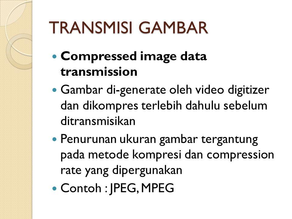 TRANSMISI GAMBAR Compressed image data transmission Gambar di-generate oleh video digitizer dan dikompres terlebih dahulu sebelum ditransmisikan Penurunan ukuran gambar tergantung pada metode kompresi dan compression rate yang dipergunakan Contoh : JPEG, MPEG
