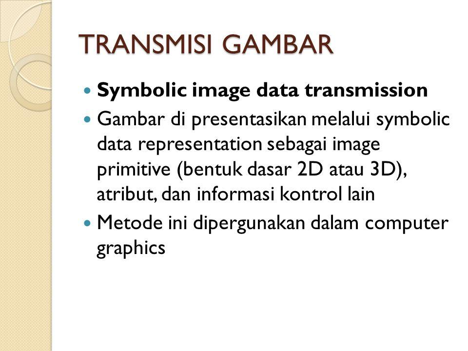 TRANSMISI GAMBAR Symbolic image data transmission Gambar di presentasikan melalui symbolic data representation sebagai image primitive (bentuk dasar 2D atau 3D), atribut, dan informasi kontrol lain Metode ini dipergunakan dalam computer graphics