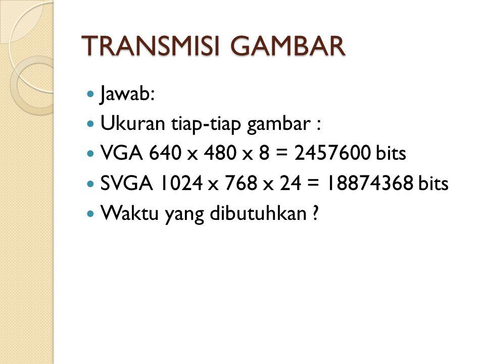 TRANSMISI GAMBAR Jawab: Ukuran tiap-tiap gambar : VGA 640 x 480 x 8 = 2457600 bits SVGA 1024 x 768 x 24 = 18874368 bits Waktu yang dibutuhkan ?