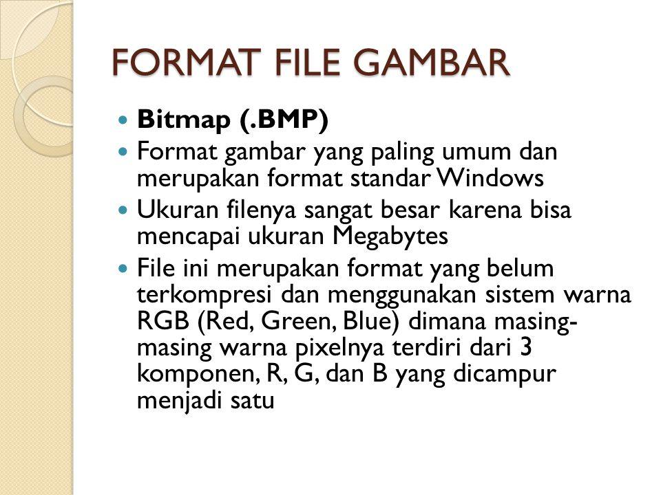 FORMAT FILE GAMBAR Bitmap (.BMP) Format gambar yang paling umum dan merupakan format standar Windows Ukuran filenya sangat besar karena bisa mencapai ukuran Megabytes File ini merupakan format yang belum terkompresi dan menggunakan sistem warna RGB (Red, Green, Blue) dimana masing- masing warna pixelnya terdiri dari 3 komponen, R, G, dan B yang dicampur menjadi satu