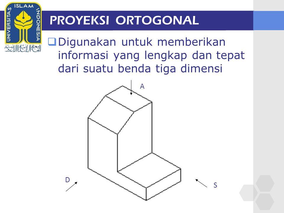 PROYEKSI ORTOGONAL  Digunakan untuk memberikan informasi yang lengkap dan tepat dari suatu benda tiga dimensi A S D