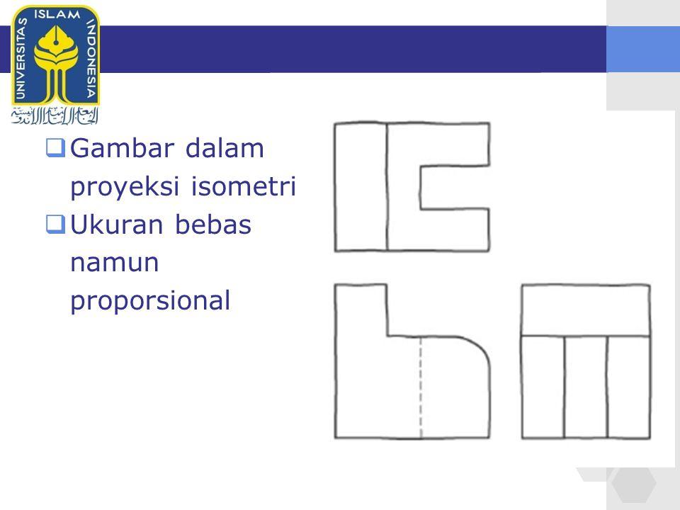  Gambar dalam proyeksi isometri  Ukuran bebas namun proporsional