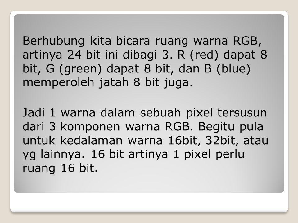 Berhubung kita bicara ruang warna RGB, artinya 24 bit ini dibagi 3. R (red) dapat 8 bit, G (green) dapat 8 bit, dan B (blue) memperoleh jatah 8 bit ju