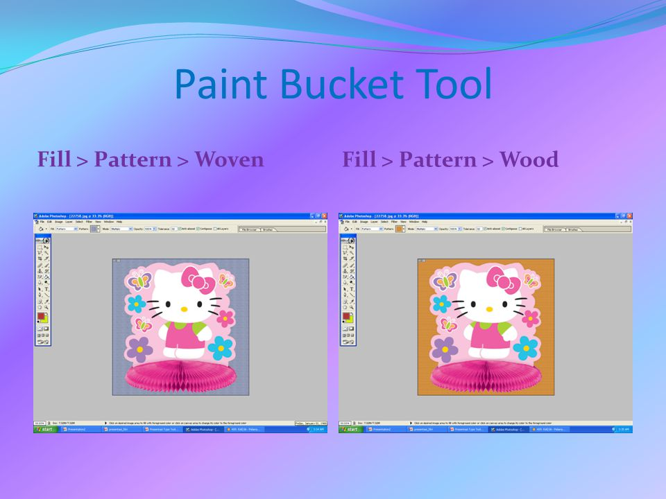 Paint Bucket Tool Fill > Pattern > Woven Fill > Pattern > Wood