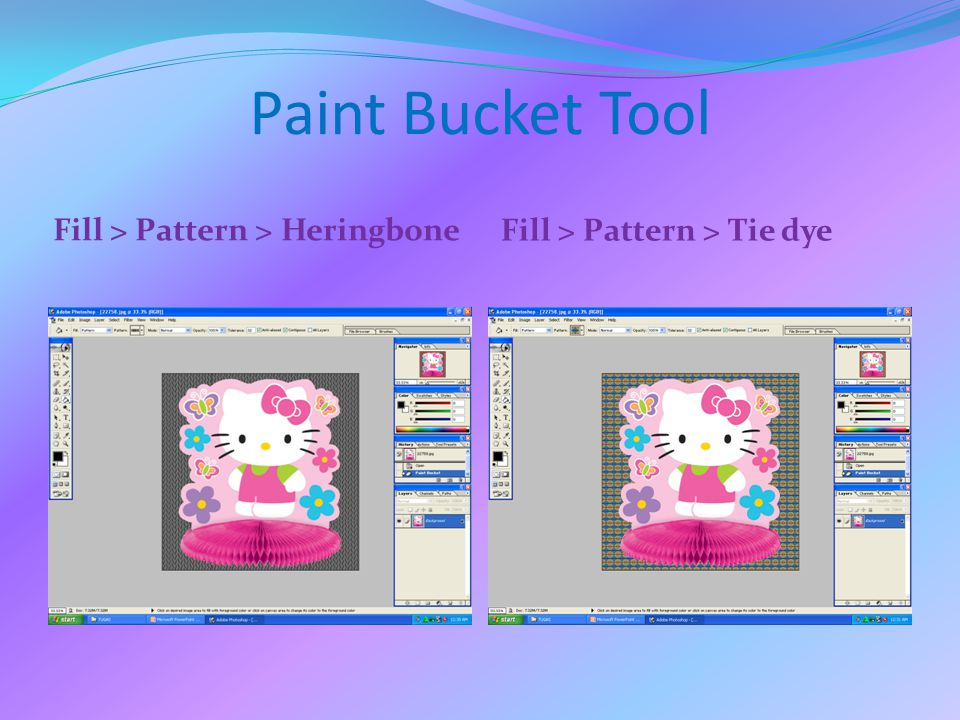 Paint Bucket Tool Fill > Pattern > Heringbone Fill > Pattern > Tie dye